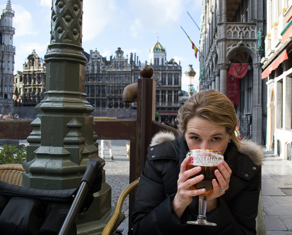 Enjoying a beer on the Grand Place