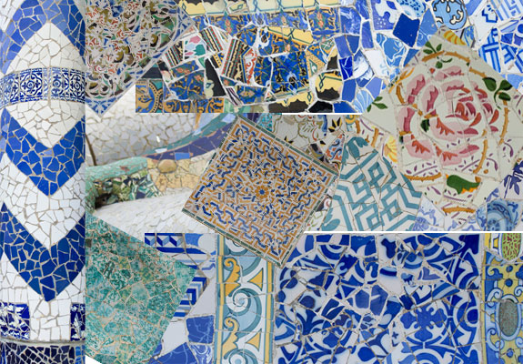 Guadi tiles in Barcelona